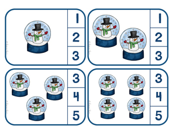 Counting Snow Globes - Clip Cards for Independent Practice