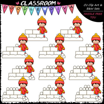 (0-10) Counting Snowballs Clip Art - Sequence, Counting & Math Clip Art & B&W