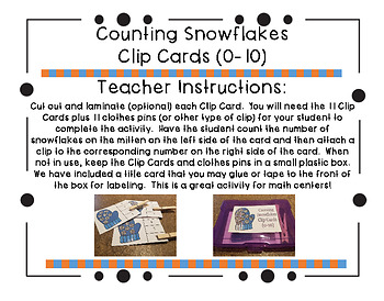 Counting Snowflakes Clip Cards (0-10)
