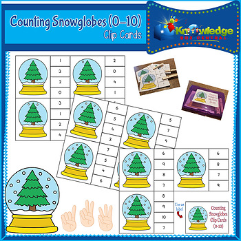 Counting Snowglobes Clip Cards (0-10)
