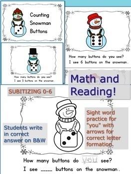 Counting Snowman Buttons Bundle!  Pocket Chart Cards & Math Emergent Reader