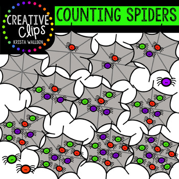 Counting Spiders: Halloween Clipart {Creative Clips Clipart}