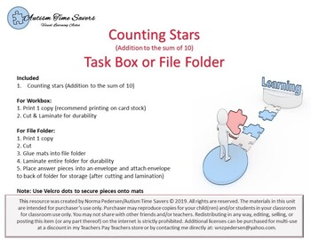 Counting Stars - Addition Task Box or File Folder
