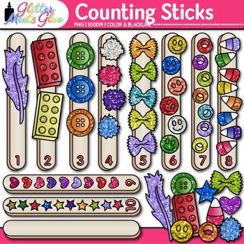 Counting Sticks Clip Art {Counting and Sorting Manipulatives for Math Centers}
