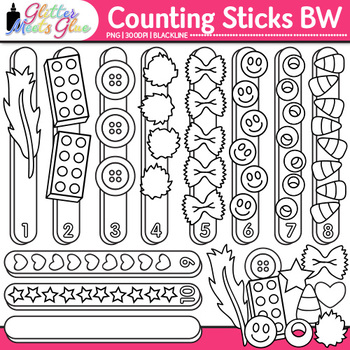 Counting Sticks Clip Art {Great for Worksheets & Handouts for Math Centers} B&W