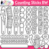 Counting Sticks Clip Art   Great for Worksheets & Handouts for Math Centers  B&W