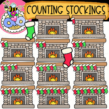 Counting Fireplace Stockings: Christmas Clipart {DobiBee Designs}