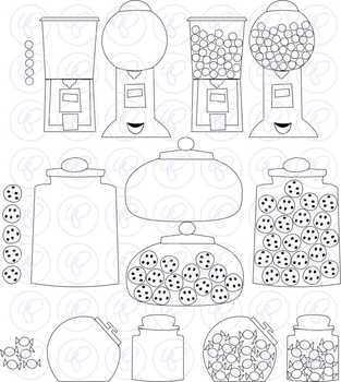 Counting Sweets: Candy Cookie & Gumball Clipart Set by Poppydreamz WITH LINE ART