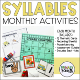 Counting Syllables - Monthly Center Bundle (Year Long, k-1)