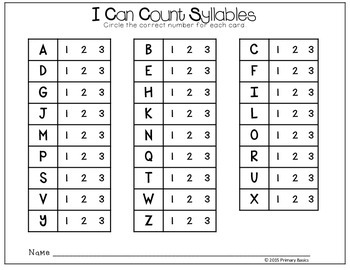 Counting Syllables Scoot