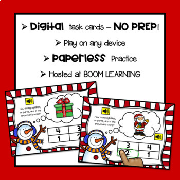 Counting Syllables with Christmas Words: Digital BOOM Task Cards {NO PREP!}