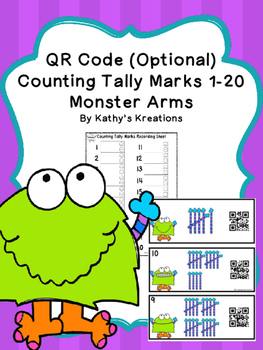 Counting Tally Marks 1-20 Monster Theme (QR Code Optional)