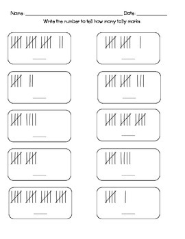Tally Marks Kindergarten Worksheets