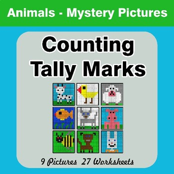 Counting Tally Marks - Math Mystery Pictures / Color By Number - Animals