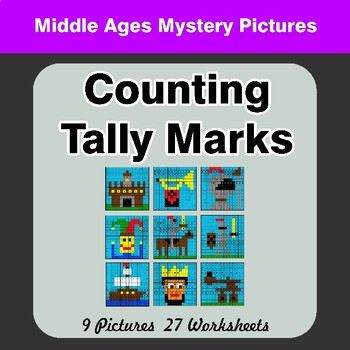 Counting Tally Marks - Math Mystery Pictures / Color By Number - Middle Ages