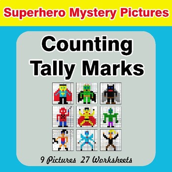 Counting Tally Marks - Math Mystery Pictures / Color By Number - Superhero