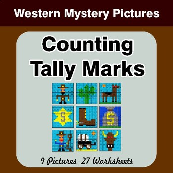 Counting Tally Marks - Math Mystery Pictures / Color By Number - Western