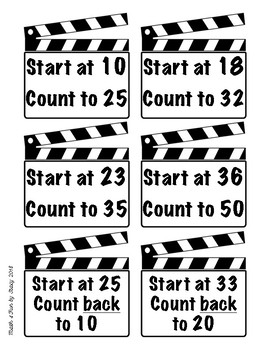 Counting Task Cards - Hollywood Theme