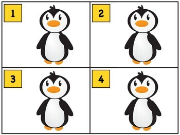 Counting Task Cards for Number Sense [Winter Penguin Theme]