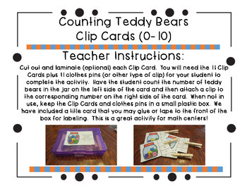 Counting Teddy Bears Clip Cards (0-10)