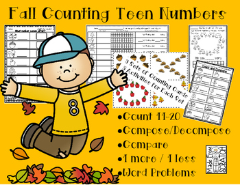 Counting Teen Numbers - Compose/Decompose, Compare and 1 more/less