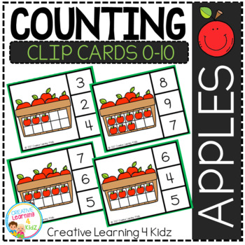 Counting Ten Frame Clip Cards 0-10: Apples