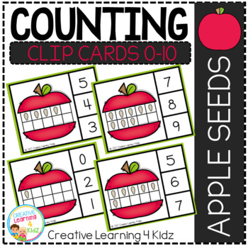 Counting Ten Frame Clip Cards 0-10: Apple Seeds