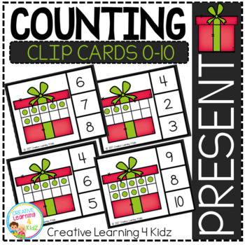 Counting Ten Frame Clip Cards 0-10: Christmas Present