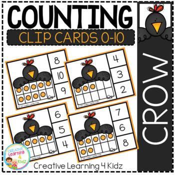 Counting Ten Frame Clip Cards 0-10: Crow