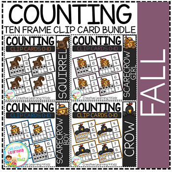 Counting Ten Frame Clip Cards 0-10: Fall Bundle