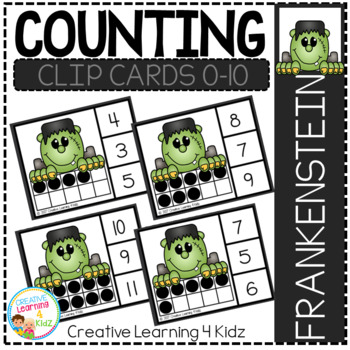 Counting Ten Frame Clip Cards 0-10: Frankenstein Halloween