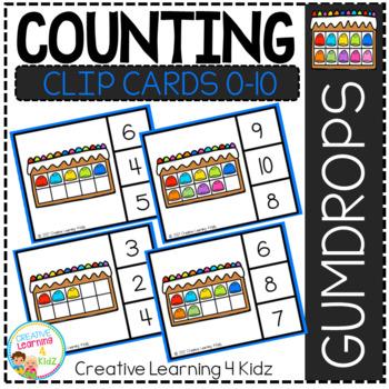 Counting Ten Frame Clip Cards 0-10: Gumdrop