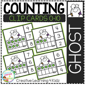 Counting Ten Frame Clip Cards 0-10: Halloween Ghost