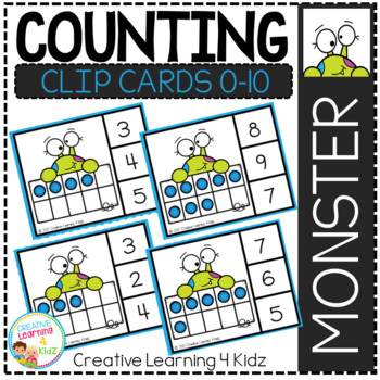 Counting Ten Frame Clip Cards 0-10: Halloween Monster