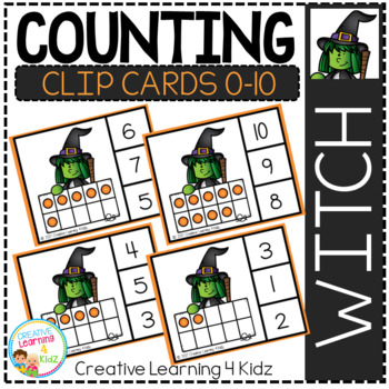 Counting Ten Frame Clip Cards 0-10: Halloween Witch