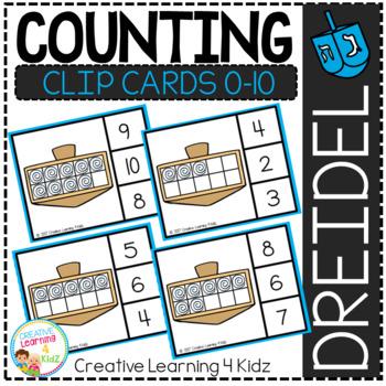 Counting Ten Frame Clip Cards 0-10: Hanukkah Dreidel