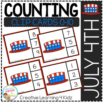 Counting Ten Frame Clip Cards 0-10: July 4th Stars