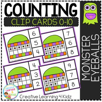 Counting Ten Frame Clip Cards 0-10: Monster Eyeballs Halloween