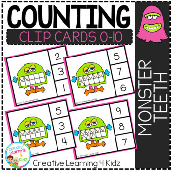 Counting Ten Frame Clip Cards 0-10: Monster Teeth Halloween