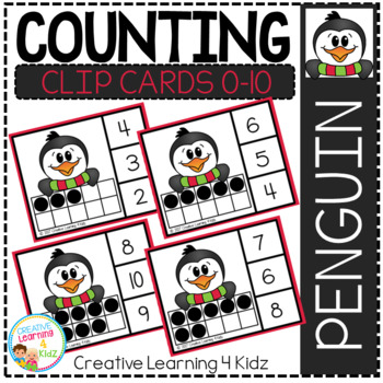 Counting Ten Frame Clip Cards 0-10: Penguin Winter