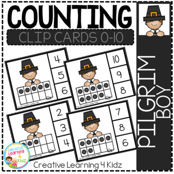 Counting Ten Frame Clip Cards 0-10: Pilgrim Boy Thanksgiving