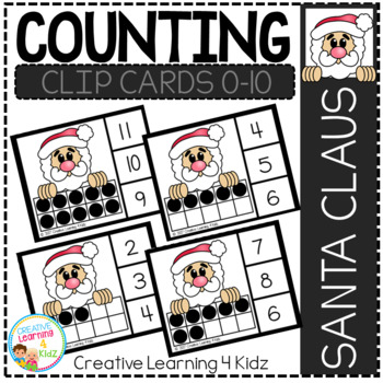 Counting Ten Frame Clip Cards 0-10: Santa Claus Christmas