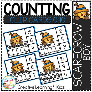 Counting Ten Frame Clip Cards 0-10: Scarecrow Boy Fall