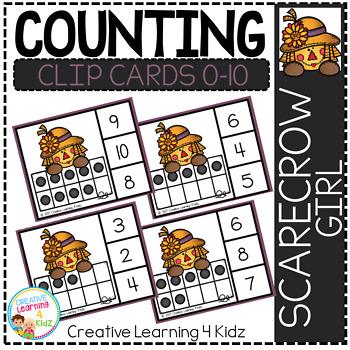 Counting Ten Frame Clip Cards 0-10: Scarecrow Girl Fall