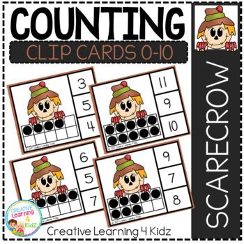 Counting Ten Frame Clip Cards 0-10: Scarecrow Thanksgiving