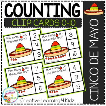 Counting Picture Clip Cards 0-10: Sombrero Cinco De Mayo