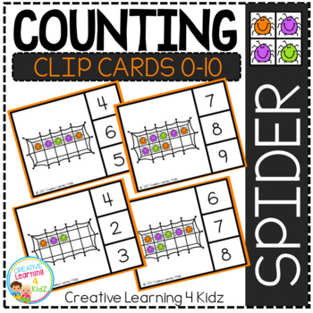 Counting Ten Frame Clip Cards 0-10: Spiders Halloween