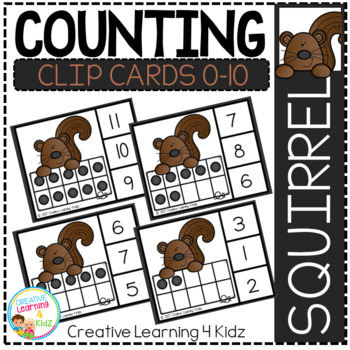 Counting Ten Frame Clip Cards 0-10: Squirrel