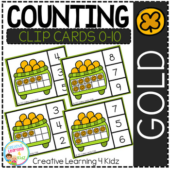 Counting Ten Frame Clip Cards 0-10: St. Patrick's Day Gold