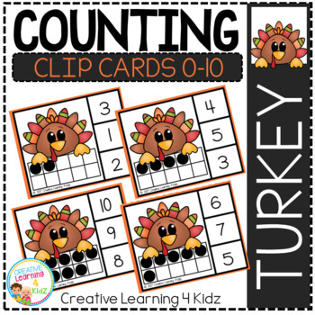 Counting Ten Frame Clip Cards 0-10: Thanksgiving 2